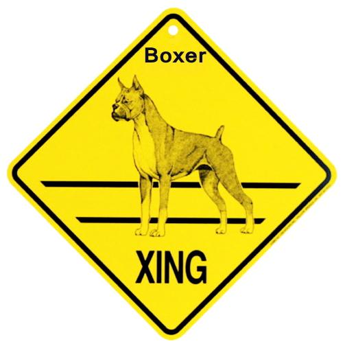 ボクサー 犬 横断注意 英語サインボード アメリカ輸入看板