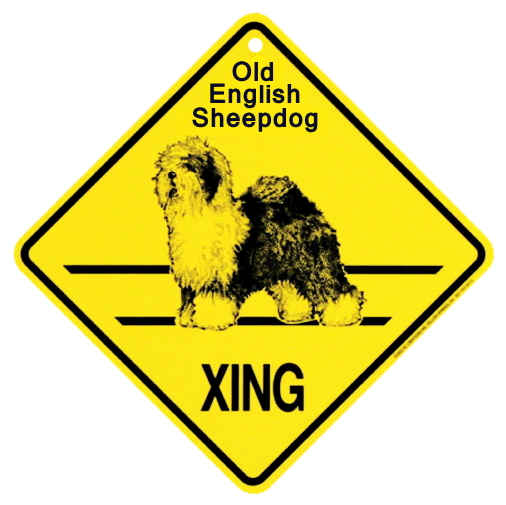 オールドイングリッシュシープドッグ 横断注意 英語サインボード アメリカ輸入看板