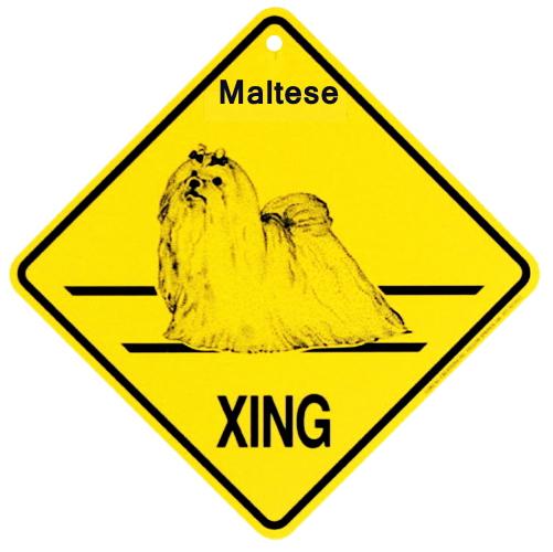 マルチーズ 横断注意 英語サインボード アメリカ輸入看板