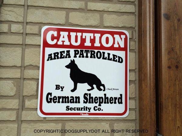 CAUTION サインボード:ジャーマンシェパード(German Shepherd)