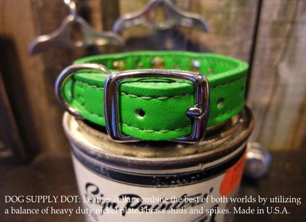 スパイク&スタッズカラー13mm:エメラルドグリーン