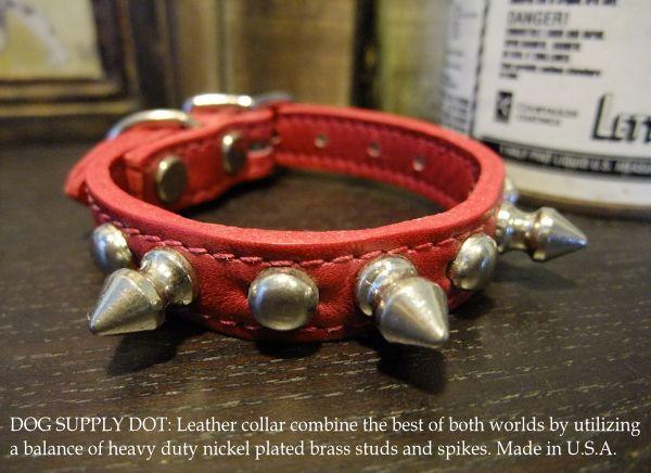 スパイク&スタッズカラー(超小型・小型犬用首輪)13mm:レッド