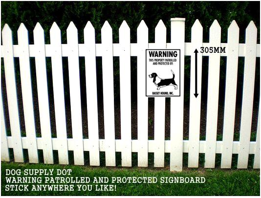 バセットハウンド株式会社警備中 英語看板 アメリカ輸入サインボード アルミ素材:WARNING THIS PROPERTY PATROLLED AND PROTECTED BY: BASSET HOUND, INC.[MADE IN U.S.A]