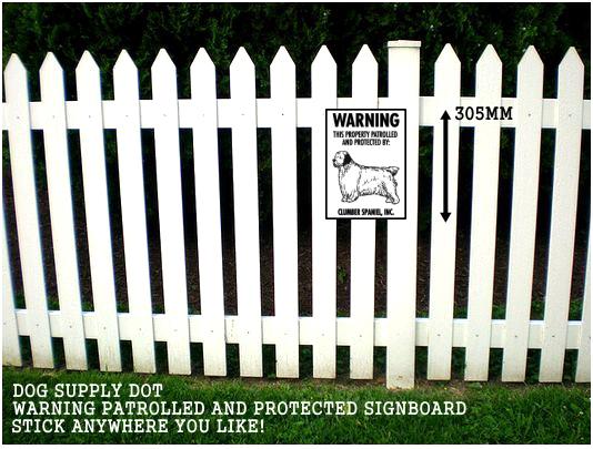 クランバースパニエル株式会社警備中 英語看板 アメリカ輸入サインボード アルミ素材:WARNING THIS PROPERTY PATROLLED AND PROTECTED BY: CLUMBER SPANIEL, INC.[MADE IN U.S.A]