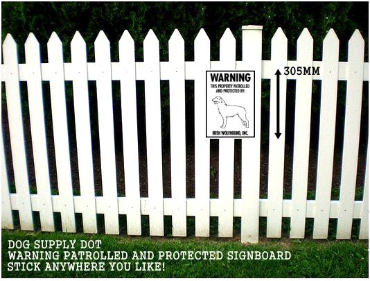 アイリッシュウルフハウンド株式会社警備中 英語看板 アメリカ輸入サインボード アルミ素材:WARNING THIS PROPERTY PATROLLED AND PROTECTED BY: IRISH WOLFHOUND, INC.[MADE IN U.S.A]