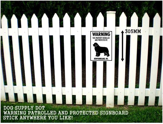 ニューファンドランド株式会社警備中 英語看板 アメリカ輸入サインボード アルミ素材:WARNING THIS PROPERTY PATROLLED AND PROTECTED BY: NEWFOUNDLAND, INC.[MADE IN U.S.A]