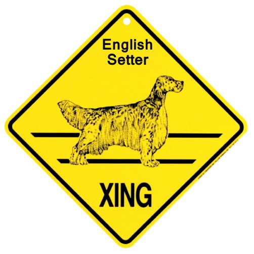 イングリッシュセッター 横断注意 英語サインボード アメリカ輸入看板