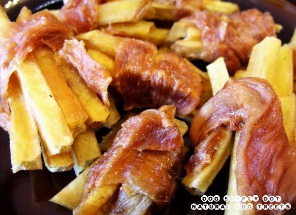 国産サツマイモに南九州産の鶏ささみ肉を巻いたヘルシーな犬オヤツ【ささみ薩摩芋】