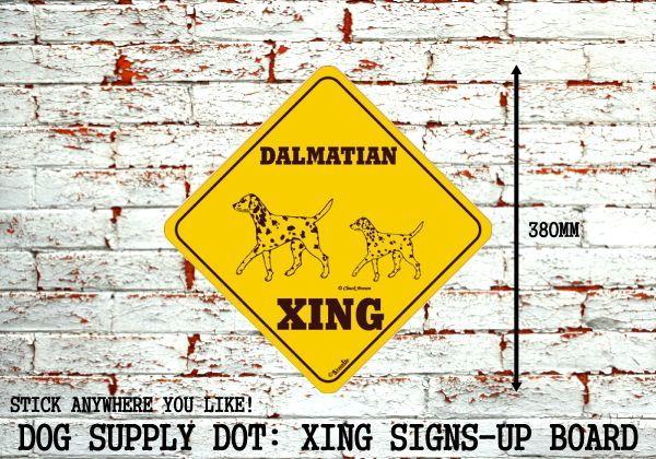 ダルメシアン(二頭) 横断注意 英語サインボード アメリカ輸入看板:DALMATIAN XING